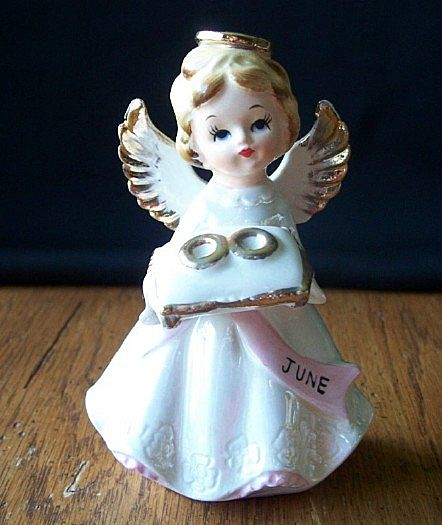June Angel Holding Wedding Rings Figurine