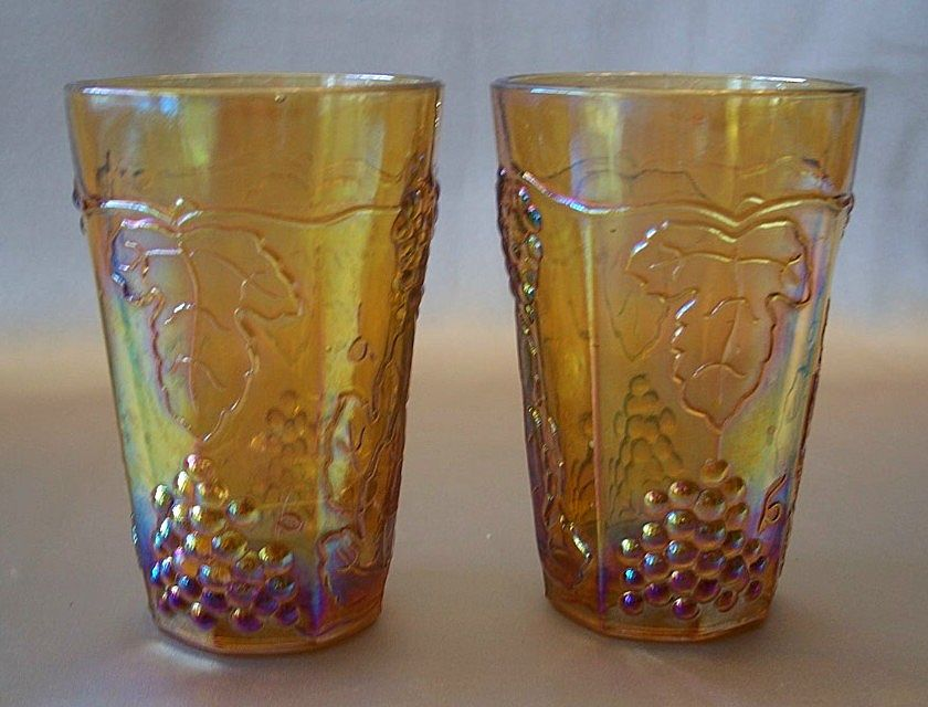 Two Harvest Gold Juice Tumblers
