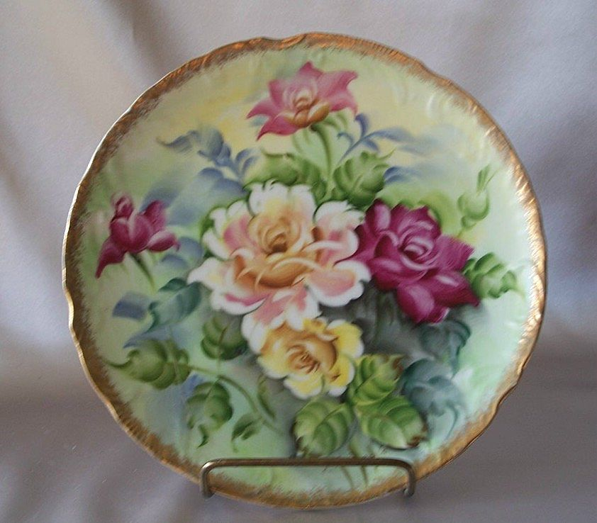 Hand Painted Plates : Hand painted floral wall plate from colemanscollectibles