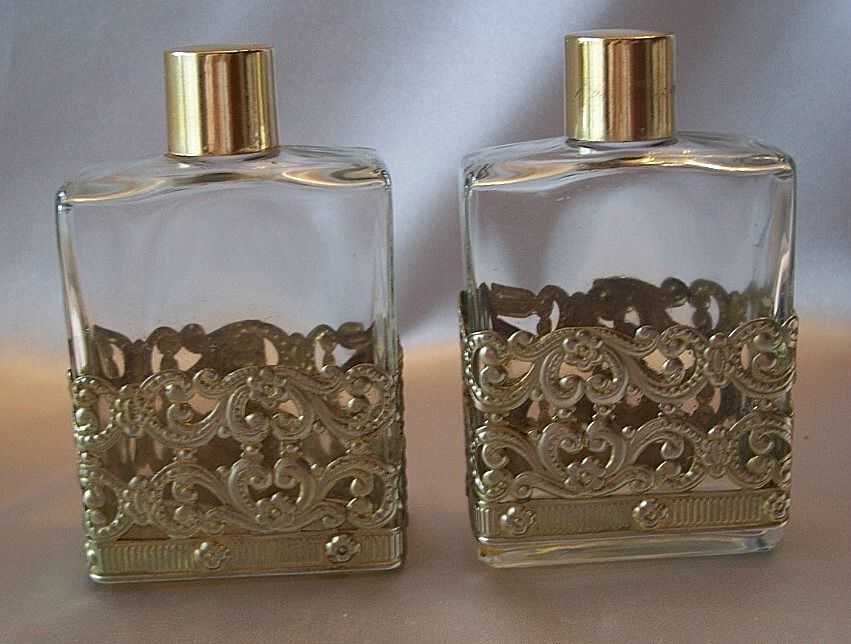 Two Decorated Vanity Bottles with Filagree
