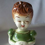 Girl  Ceramic Hand Painted  Head Vase