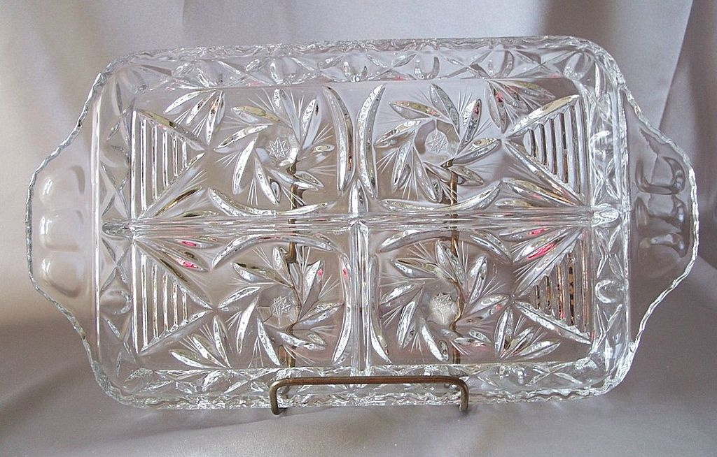 Pinwheel Pattern Lead Crystal Relish Serving Tray