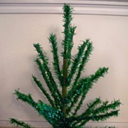 Vintage Green Tinsel Christmas Tree
