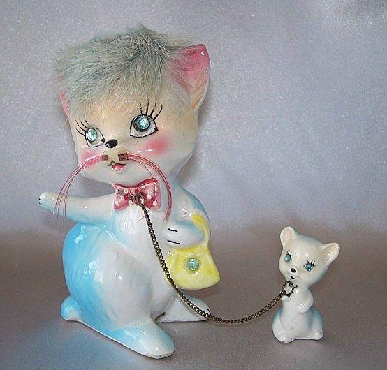 Vintage Kreiss Ceramic Kitty Cat And Kitten