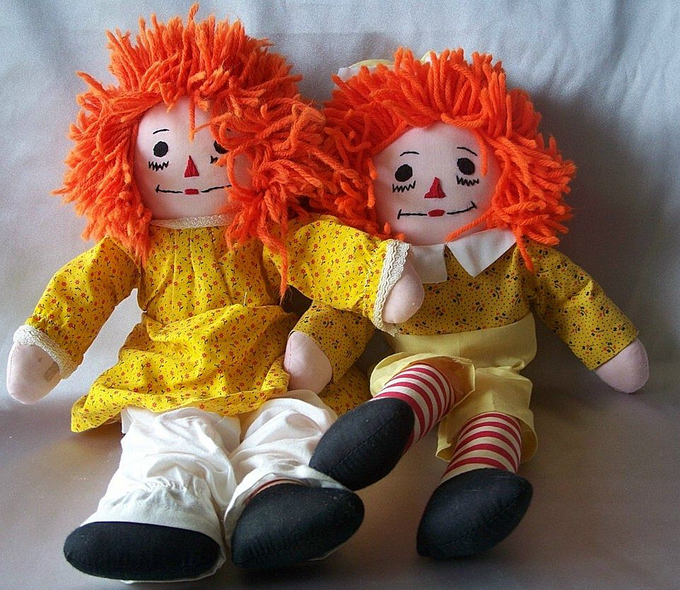 Raggedy Ann & Andy Cloth Dolls Hand Made
