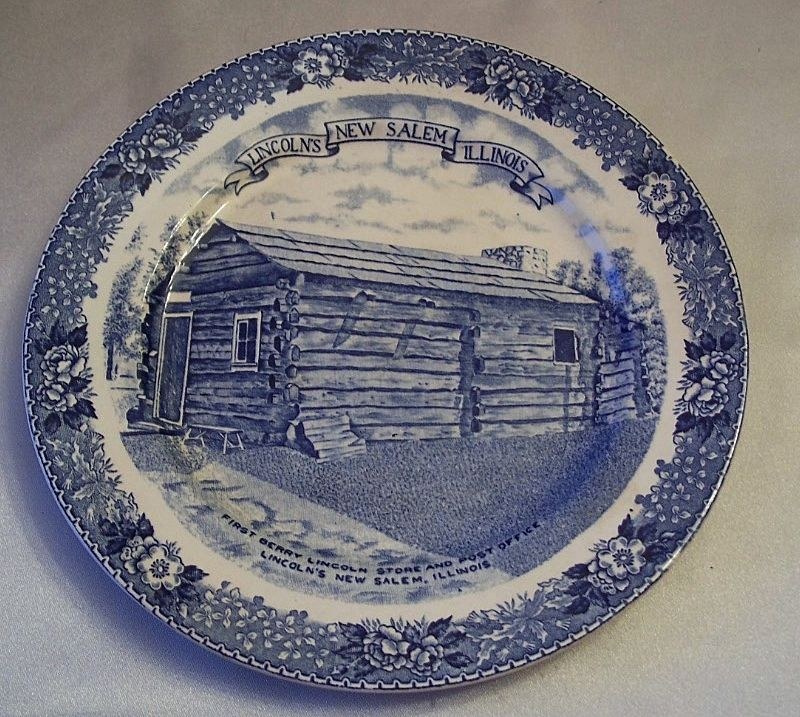 Staffordshire Ware Lincoln New Salem Commemorative Plate