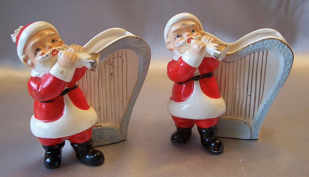 Two Vintage Santa Claus Vase / Planter