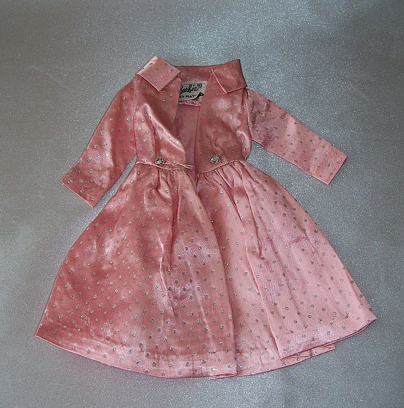 Barbie Pink Satin Silver Glitter Dots Coat 1963