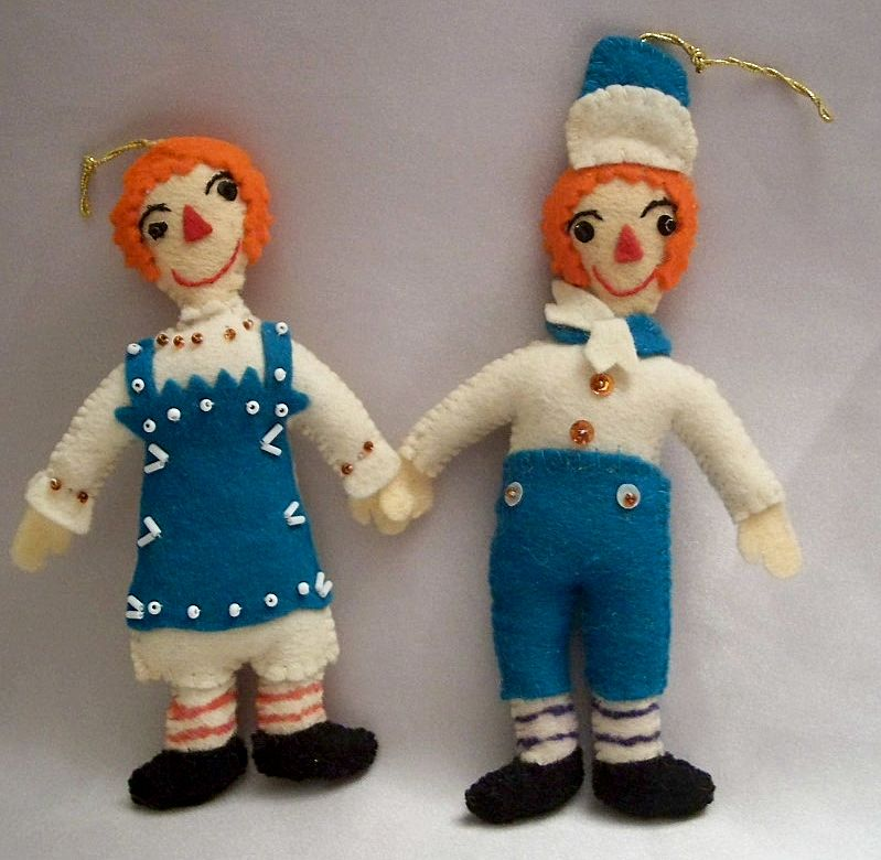 Vintage Raggedy Ann And Andy Doll Christmas Ornaments