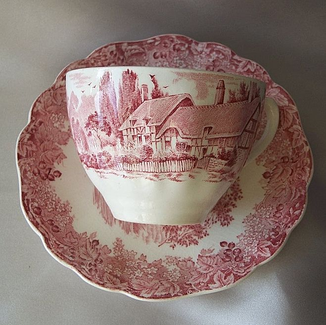 J & G Meakin Red Romantic England Cup And Saucer