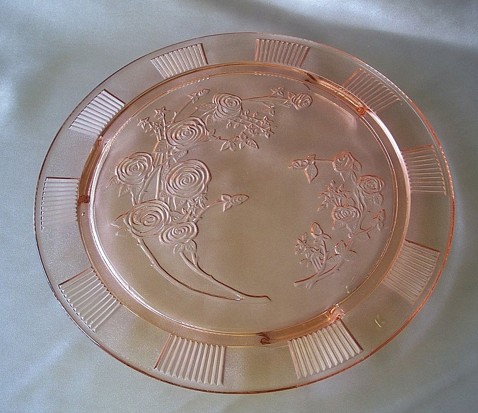 Pink Sharon Cabbage Rose Pink Cake Plate