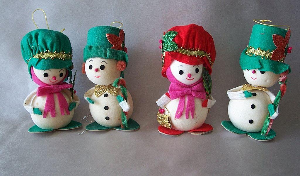 Four Napcoware Vintage Christmas Snowman Ornaments