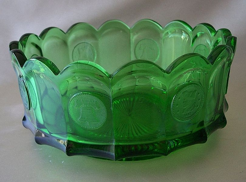Fostoria Green Coin Glass Bowl