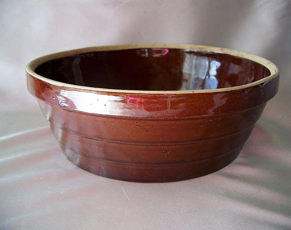 Brown Stoneware Crock Bowl USA