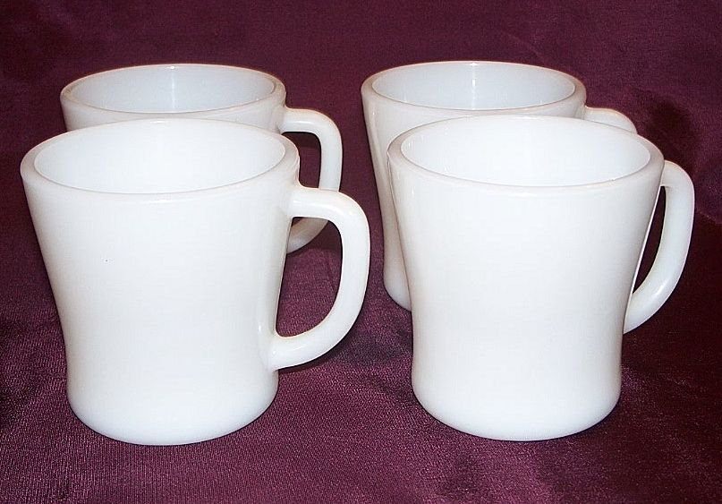 Four Federal White Coffee Mugs