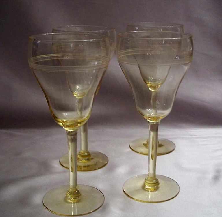 Topaz Glass Wine Goblets