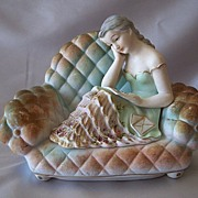 Ucagco Lady Sitting On Sofa Trinket Box Figurine