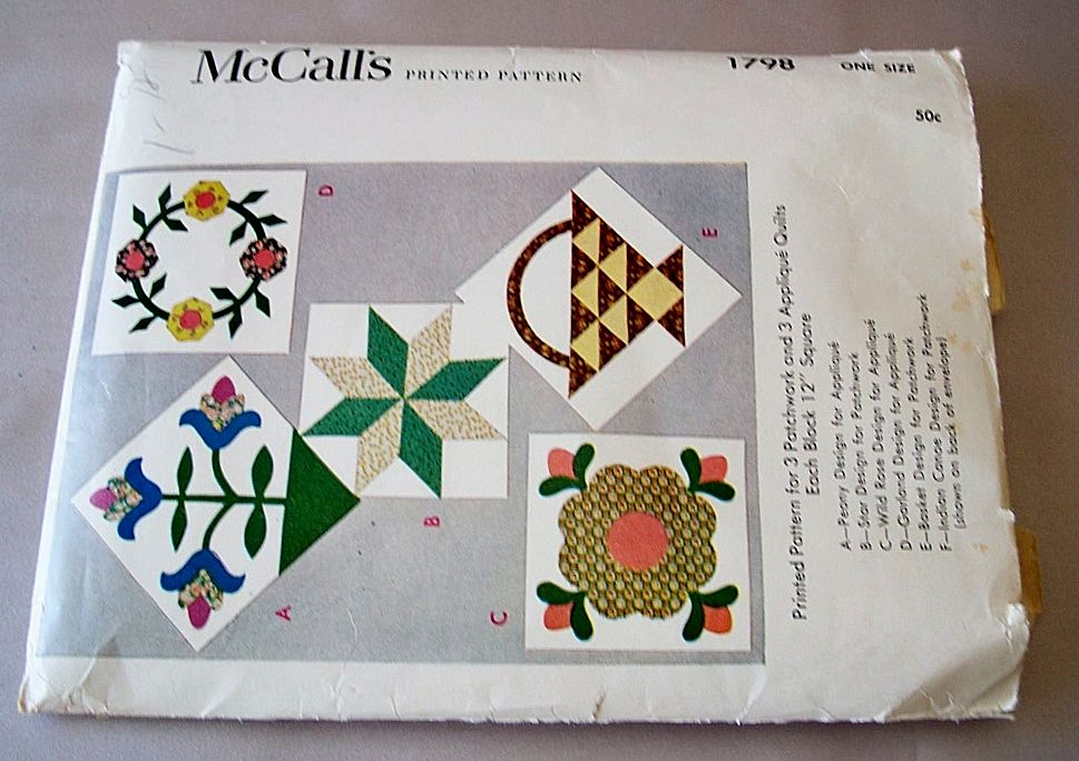 Vintage McCalls Printed Pattern 1798  For Quilts