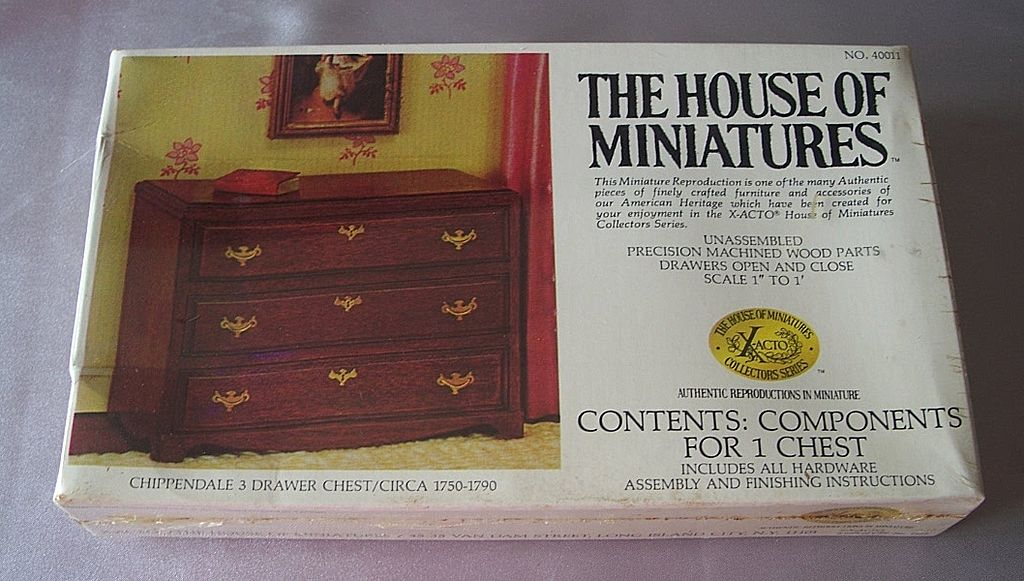 The House Of Miniatures  Chippendale 3 Drawer Chest Kit Dollhouse Furniture