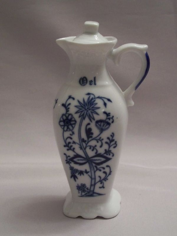 Cruet Bottle With Lid Blue and White