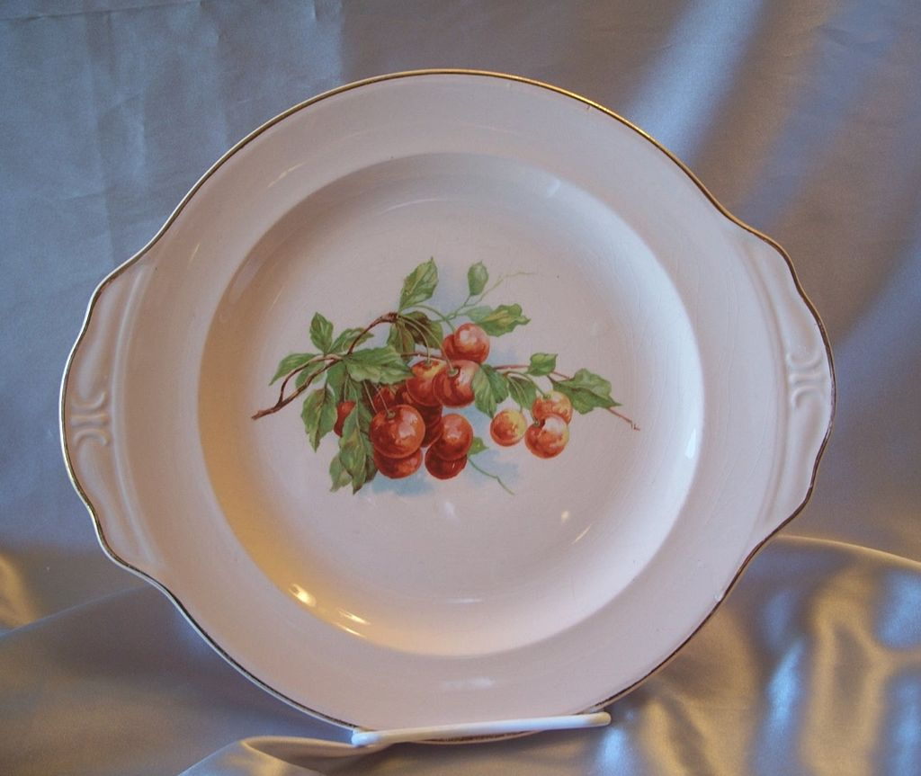 Hand Painted Plate with Cherries