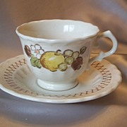 Metlox Pottery Vernon Ware Fruit Basket Cup and Saucer
