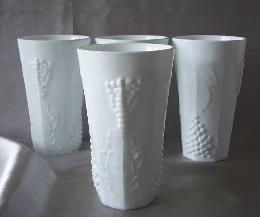 Indiana Glass Colony Harvest Milk Glass Flat Tumblers