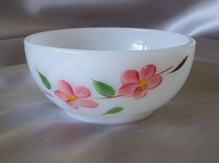 Fire King Glass Gay Fay Peach Blossom Cereal Bowl