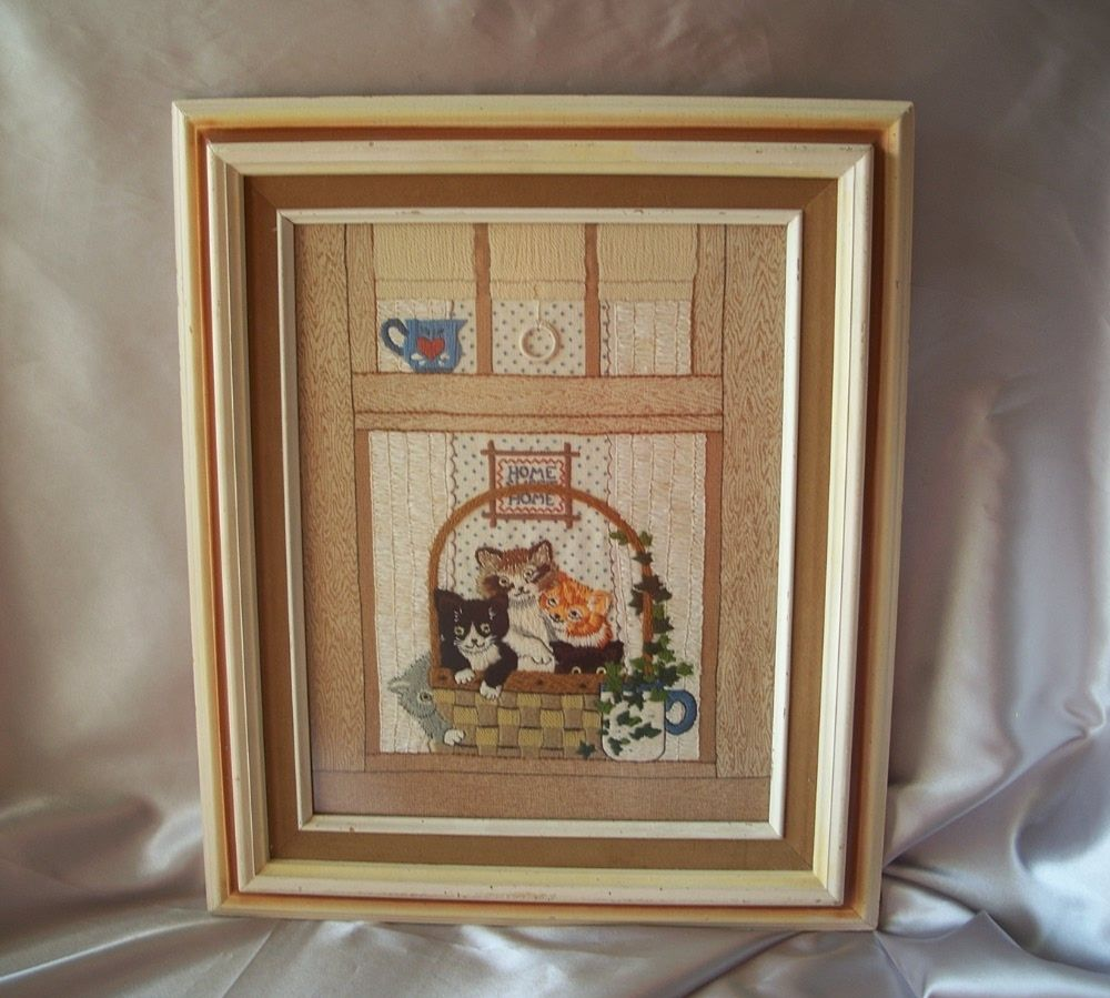 Vintage Kitten Embroidery Frame Picture