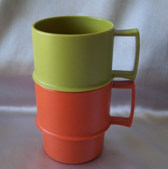 Two Tupperware Stackable Mugs  U.S.A.