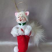 Cute Annalee Kitty Christmas Ornament