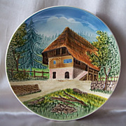 German Majolica  Wall Plate  Country Cottage Scene