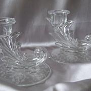 Fostoria Glass Navarre Crystal Candlesticks