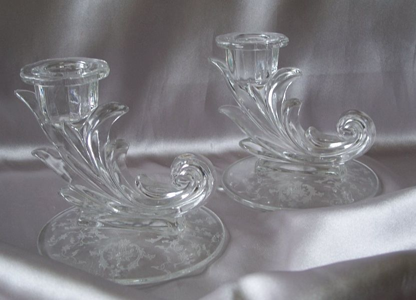 Fostoria Glass Navarre Crystal Candlesticks