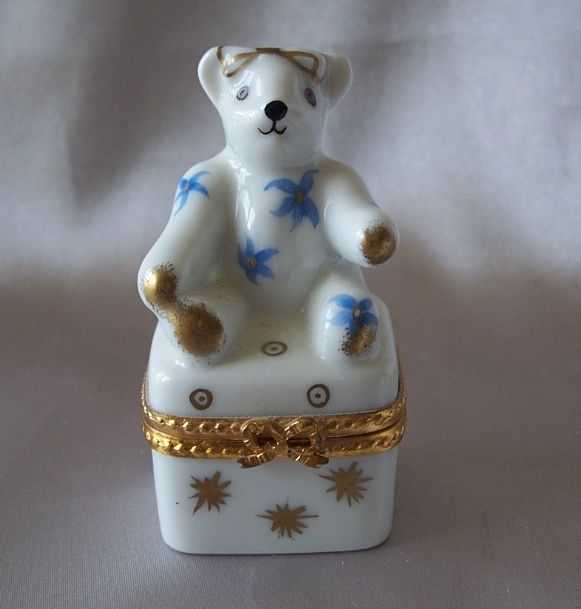 Limoges France Hand Painted  Bear Box