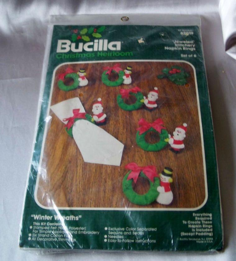 Bucilla Christmas Heirloom Jeweled Napkin Rings Kit   Santa and Snowman