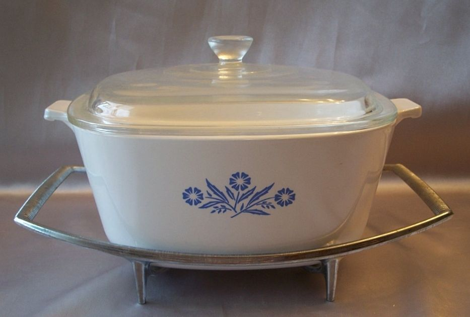 Corning Ware Corn Flower Cerole With Serving Tray Colemans Collectibles Ruby Lane