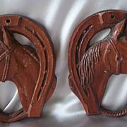 Two Vintage Syroco Horse Wall Plaques