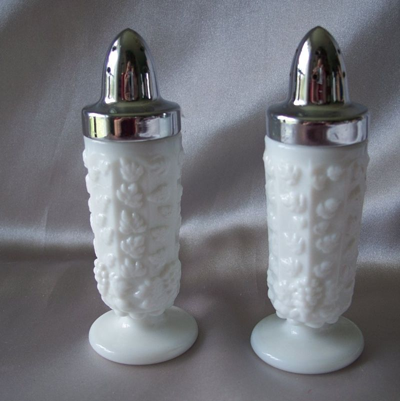 Westmoreland Glass Paneled Grape Salt and Pepper Shakers