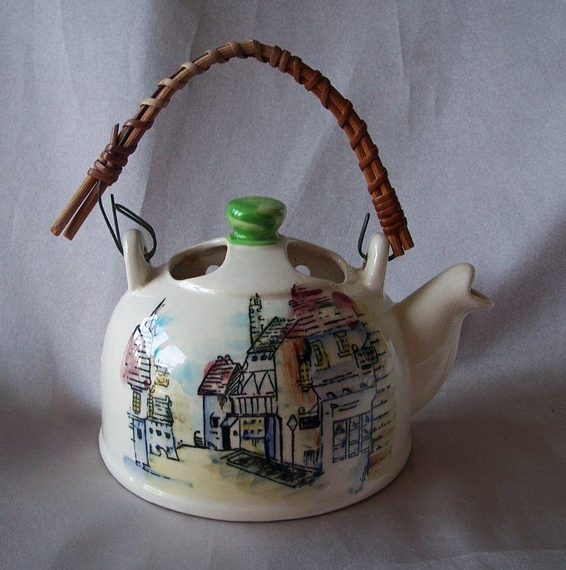 Vintage Ceramic Tea Pot Wall Pocket