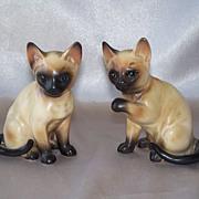 Two Lefton Ceramic Siamese Cats Figurine