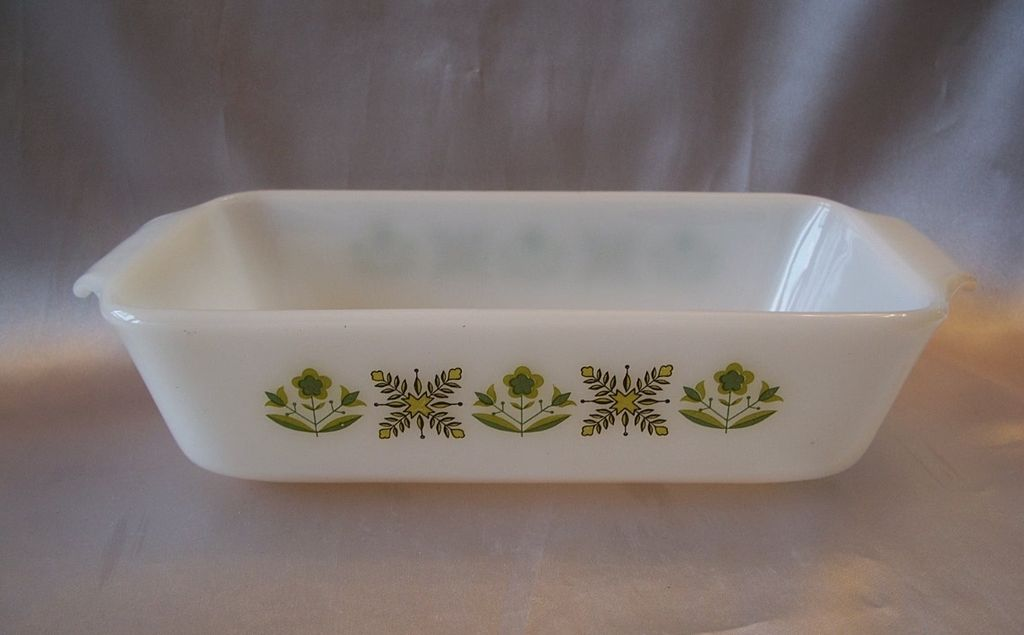 Fire King Meadow Green  Ovenware Loaf Pan