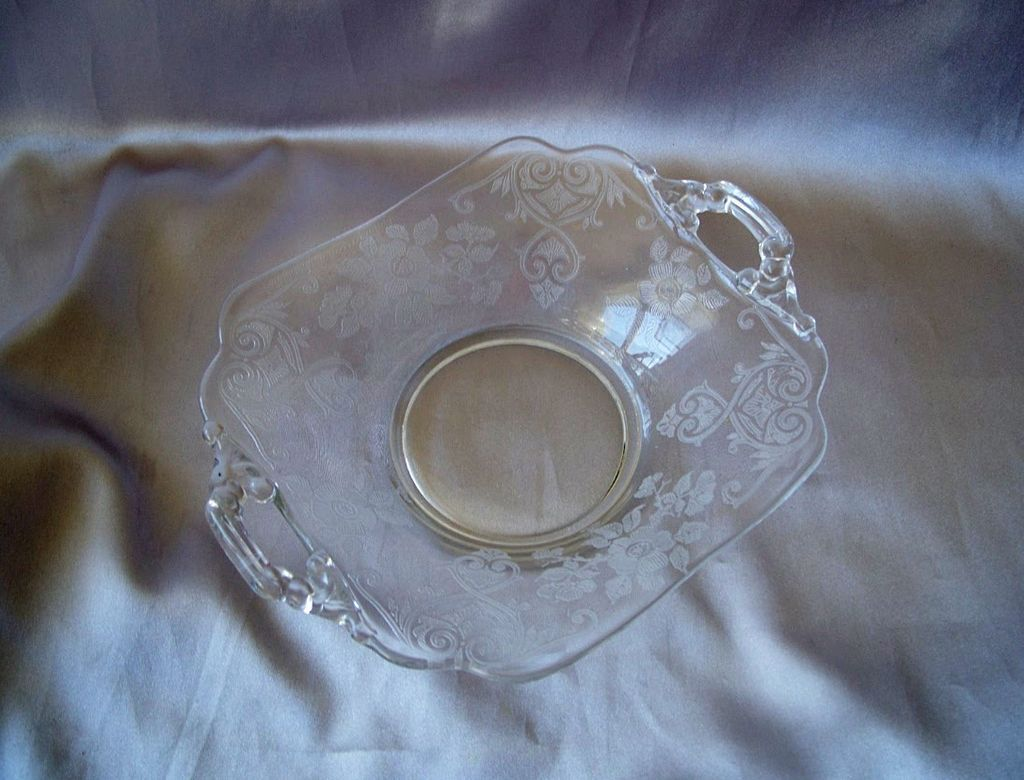 Crystal Cambridge Glass Apple Blossom Dish