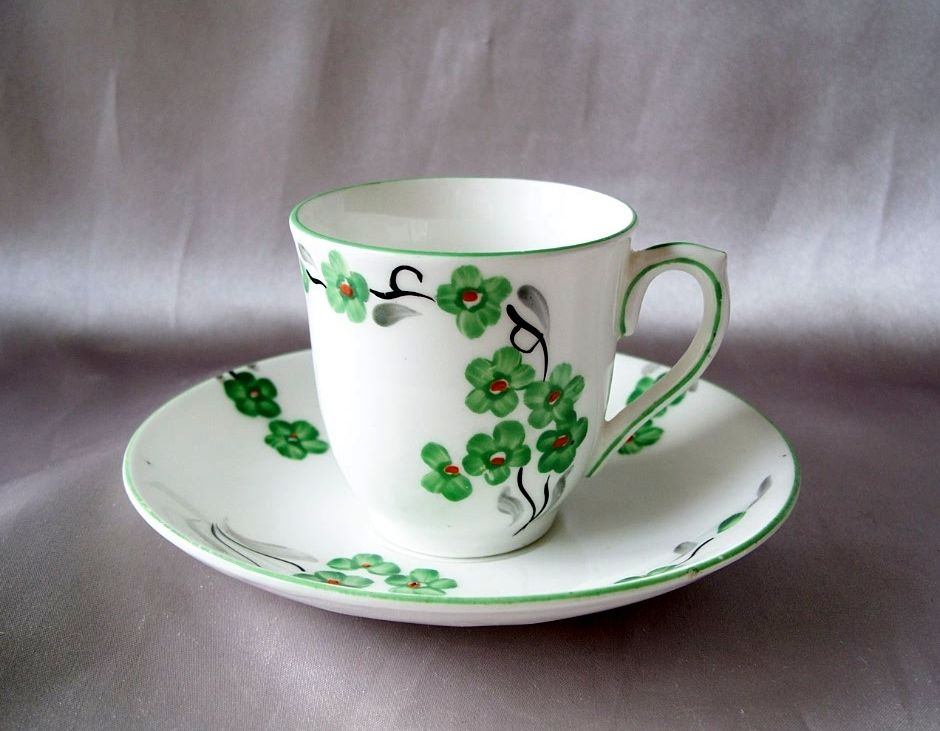 M & R Bone China Demitasse  Cup And Saucer