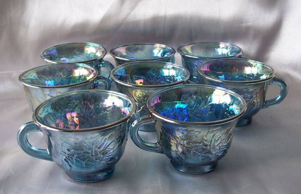 Eight Indiana  Blue Carnival Glass Punch Cups