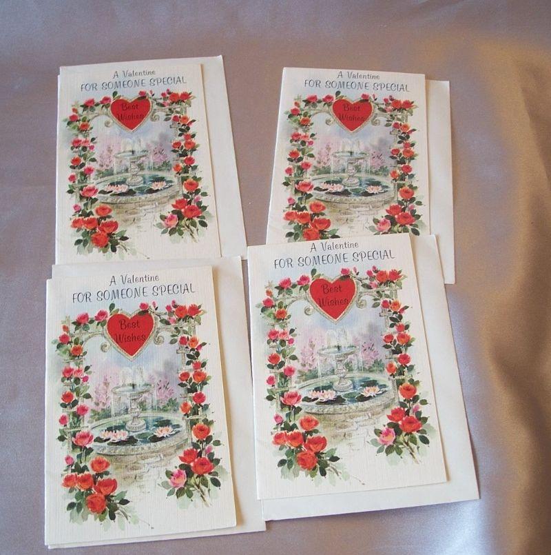 Four Vintage Valentine Card
