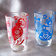 Two Swanky Swig Glasses In Antique Pattern