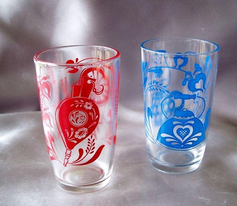 Two Swanky Swig Glasses In Antique Pattern