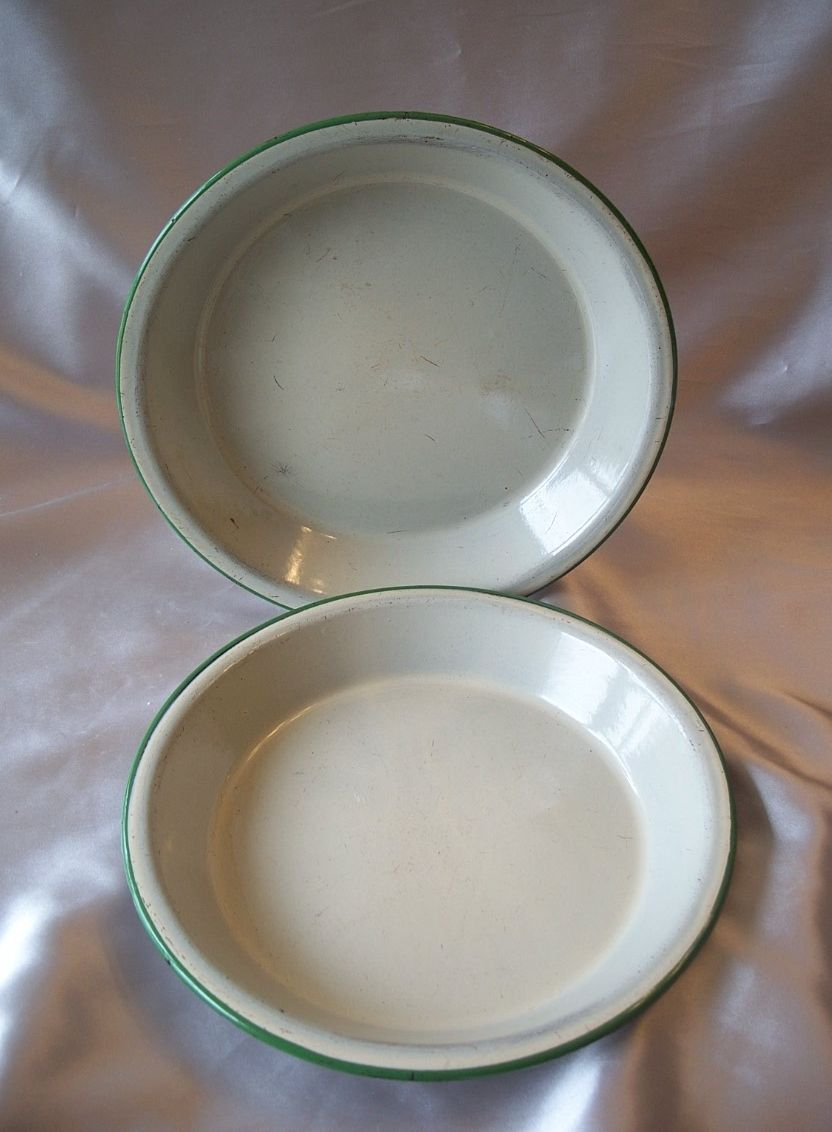 Two Enamel  Ware Pie Pans Light Green