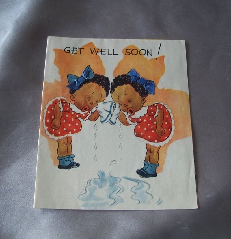 Vintage Black Americana Get Well Soon Greeting Card